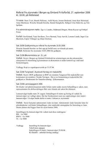 Referat fra styremøte i Bergen og Omland Friluftsråd, 27. september ...