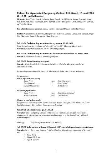 Referat fra styremøte i Bergen og Omland Friluftsråd, 10. mai 2006 kl ...