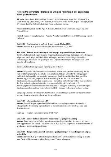 Referat fra styremøte i Bergen og Omland Friluftsråd 08. september ...