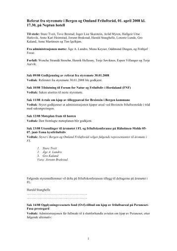 Referat fra styremøte i Bergen og Omland Friluftsråd, 01. april 2008 ...