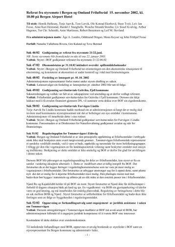 Referat fra styremøte i Bergen og Omland Friluftsråd 15. november ...