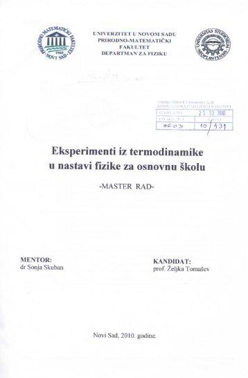 Željka Tomašev - Eksperimenti iz termodinamike u nastavi fizike za ...