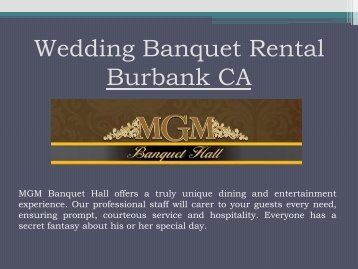 Wedding Banquet Rental Burbank CA