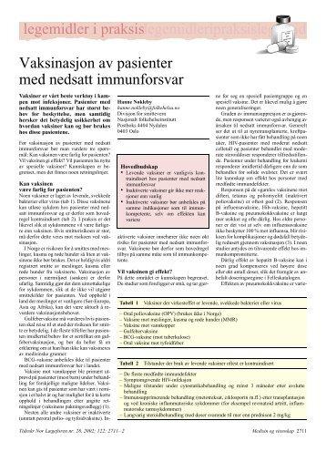 veiledning om vaksiner for pasienter med nedsatt ... - HivNorge
