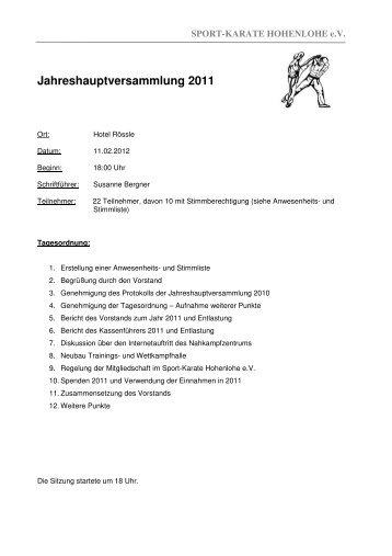 Jahreshauptversammlung 2011 - Nahkampfzentrum Niedernhall