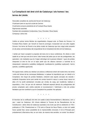 La Compilació del dret civil de Catalunya i els homes i les terres de ...