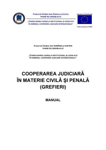 Manualul de cooperare judiciară în materie ... - Ministerul Justiţiei