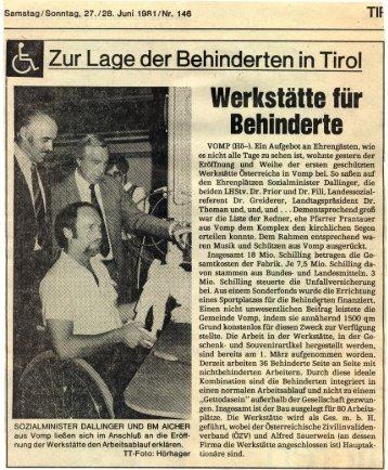 Werkstätte für Behinderte in Tirol