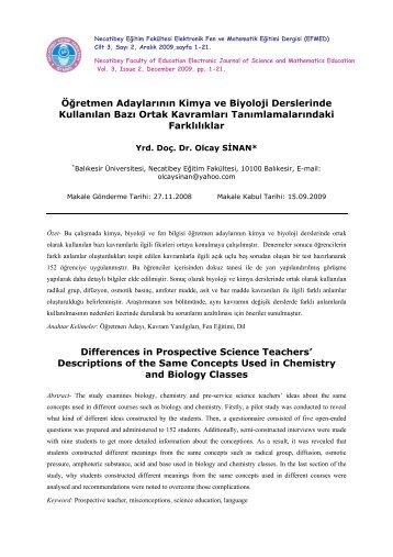Tam Metin: pdf - Necatibey Eğitim Fakültesi - Balıkesir Üniversitesi