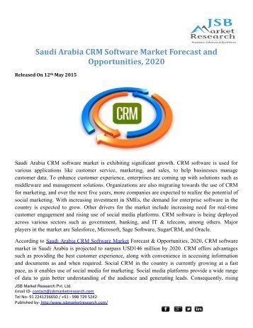 JSB Market Research: Saudi Arabia CRM Software Market Forecast and Opportunities, 2020