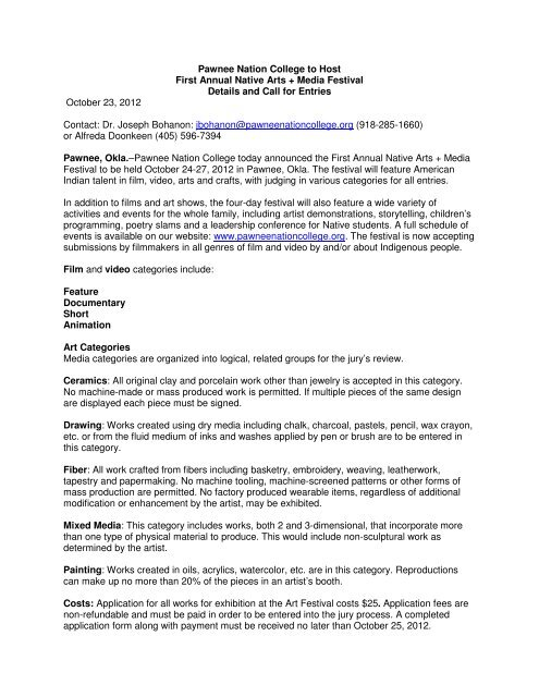 Pnc Native Arts And Media Festival Press Release Pawnee