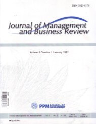 Journal of Management and Business Review Vol. 9 No.1 January ...