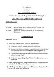 Bau-, Planungs- und Umweltausschusses Tagesordnung