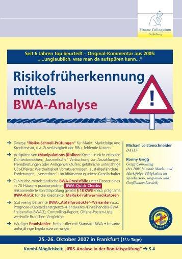 Risikofrüherkennung mittels BWA-Analyse - Grigg.de