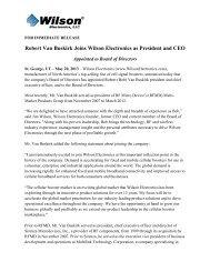 Robert Van Buskirk Joins Wilson Electronics as President and CEO
