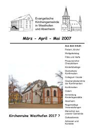 März bis Mai - Evangelische Kirchengemeinde Westhofen und ...