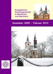 Dezember bis Februar 2010 - Evangelische Kirchengemeinde ...