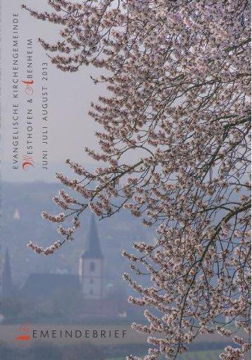 Download hier - Evangelische Kirchengemeinde Westhofen und ...