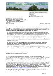 Schreiben an NRW Umweltminister Johannes Remmel
