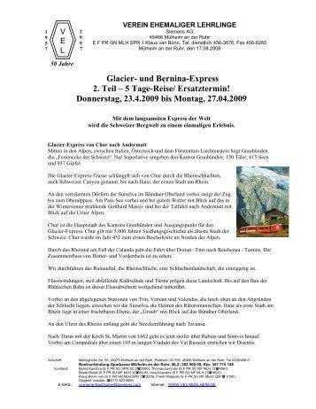 Glacier- und Bernina-Express 2. Teil – 5 Tage ... - vel-muelheim.de