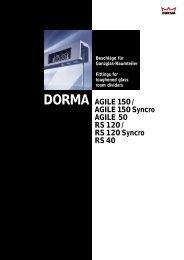 DORMA AGILE 150/AGILE 150 Syncro Kleinste Abmessungen