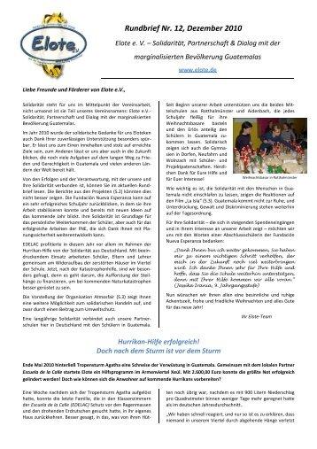 Zum 12. Rundbrief (Nr. 12 - 12.2010)... - Elote
