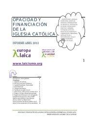 opacidad y financiación de la iglesia católica - Europa Laica