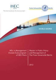 Master in Public Policy and Management of The Freie Universität - Hec