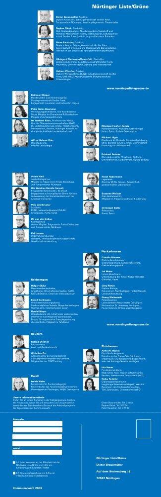 Wahlprogramm herunterladen - Nürtinger Liste/Grüne