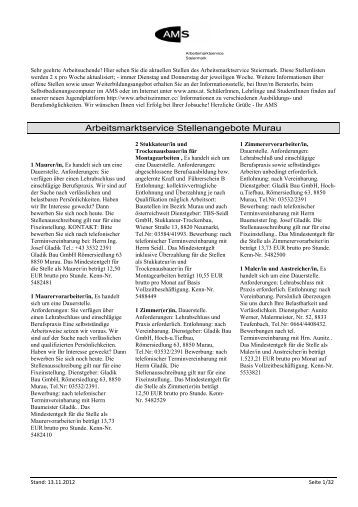 Arbeitsmarktservice Stellenangebote Murau