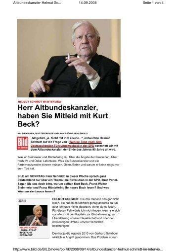 Herr Altbundeskanzler, haben Sie Mitleid mit Kurt Beck? - SPD