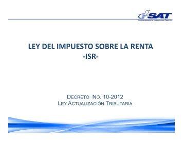 LEY DEL IMPUESTO SOBRE LA RENTA -ISR-