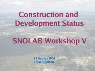 Construction and Development Status SNOLAB Workshop V