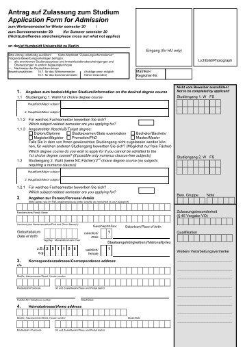 Antrag auf Zulassung zum Studium - HU Berlin