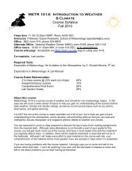 METR 1014: Introduction to Weather & Climate Course Syllabus Fall ...