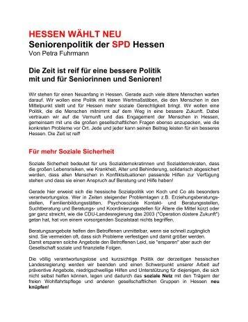 Papier zur Seniorenpolitik der SPD Hessen - Petra Fuhrmann