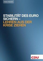 Stabilität des Euro sichern - Lehren aus der Krise ziehen - CDU ...