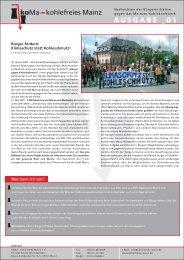 KoMa News Ausgabe 01 - Kohlefreies Mainz