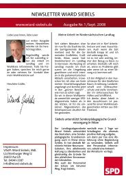 Newsletter Nr. 1 / September 2008 - Wiard Siebels