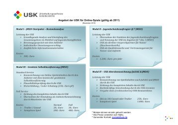 Angebot der USK für Online-Spiele (gültig ab 2011)