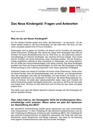 Das Neue Kindergeld: Fragen und Antworten - SPD Unterbezirk Herne