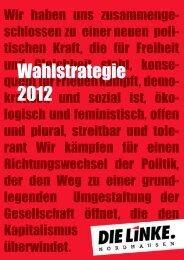 Wahlstrategie 2012 - DIE LINKE. Kreisverband Nordhausen