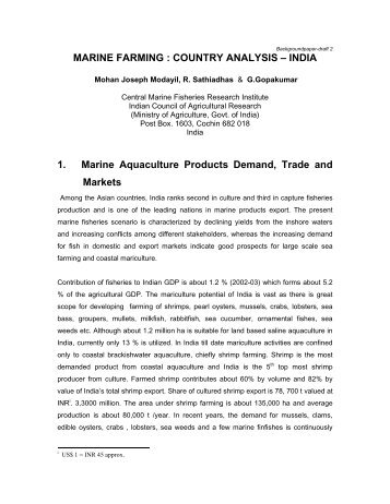 MARINE FARMING : COUNTRY ANALYSIS – INDIA 1 ... - Library