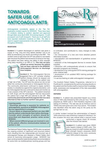 TOWARDS SAFER USE OF ANTICOAGULANTS - GGC Prescribing
