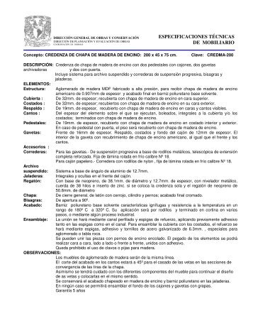 Especificaci n t cnica for Especificaciones tecnicas de mobiliario de oficina