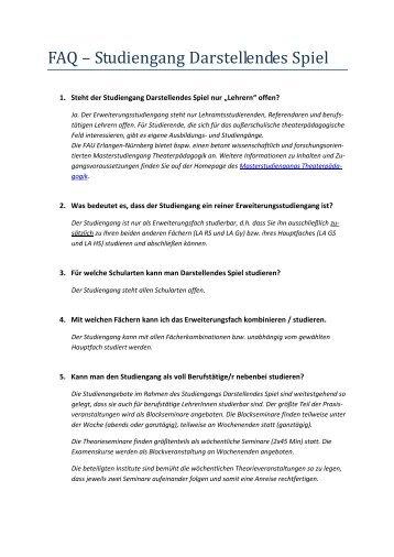 FAQ Darstellendes Spiel - Studiengang Darstellendes Spiel der ...