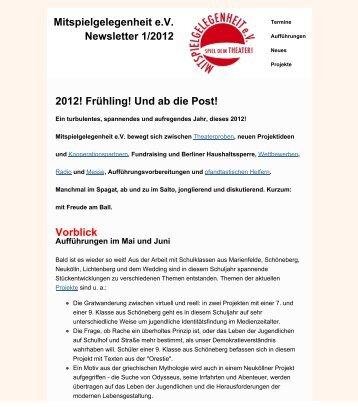 Mitspielgelegenheit Newsletter 01/12 - Mitspielgelegenheit eV