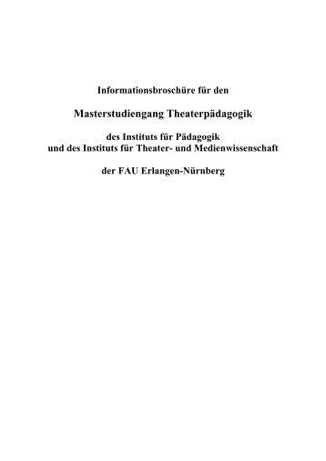 Masterstudiengang Theaterpädagogik - Studiengang Darstellendes ...