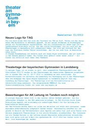 TAG-Newsletter 12-01 - Theater am Gymnasium in Bayern