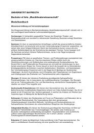 UNIVERSITÄT BAYREUTH - Prof. Musikwissenschaft